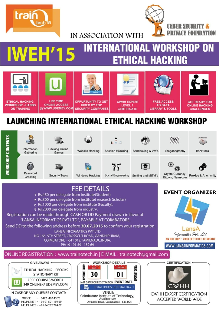 International Workshop On Ethical Hacking Pondicherryevents